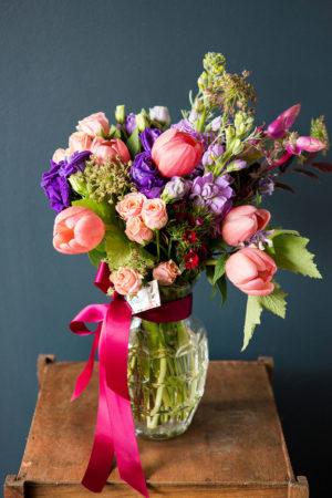 ginger vase seasonal arrangement