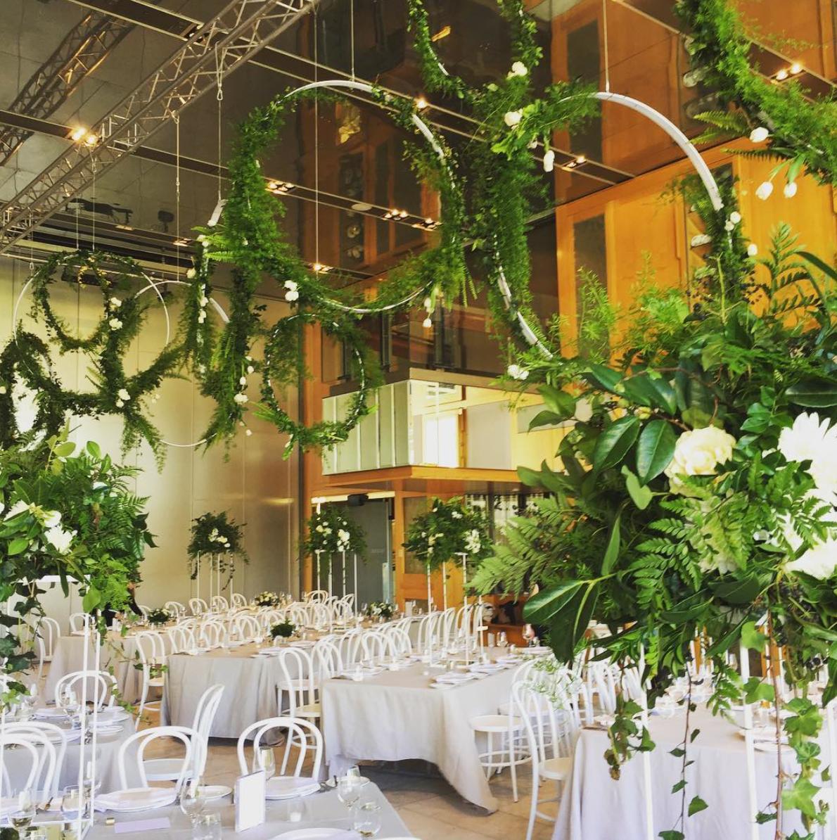 hanging greenery, wedding flowers, brisbane florist